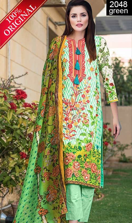 Wyss 2048 Green Full Front Embroidered Designer 3pc Lawn Suit