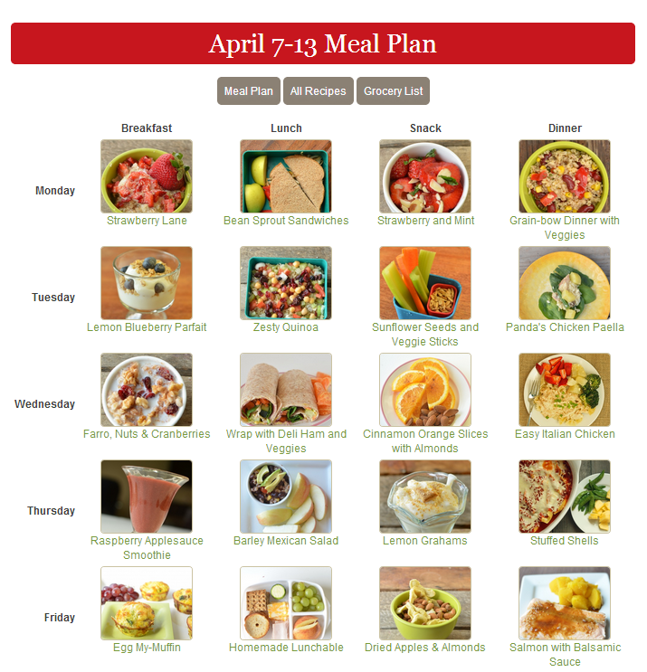Healthy Meal Plan Ideas For Kids Week Of April 7 13