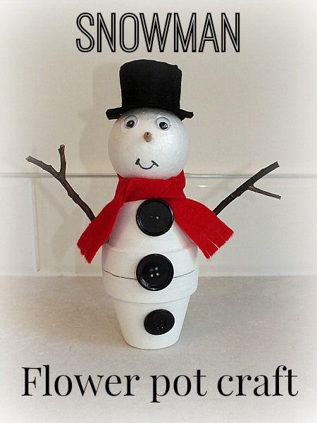 Snowman flower pot craft
