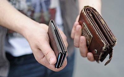 RFID Men/'s Originale in Pelle Bi-Fold Wallet Nero 100