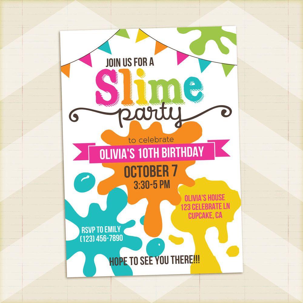 Slime party invitation slime birthday party invitation