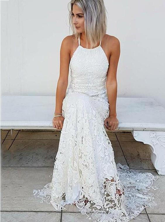 Buy Simple Halter Mermaid Lace Wedding Dress Beach Bridal Gown