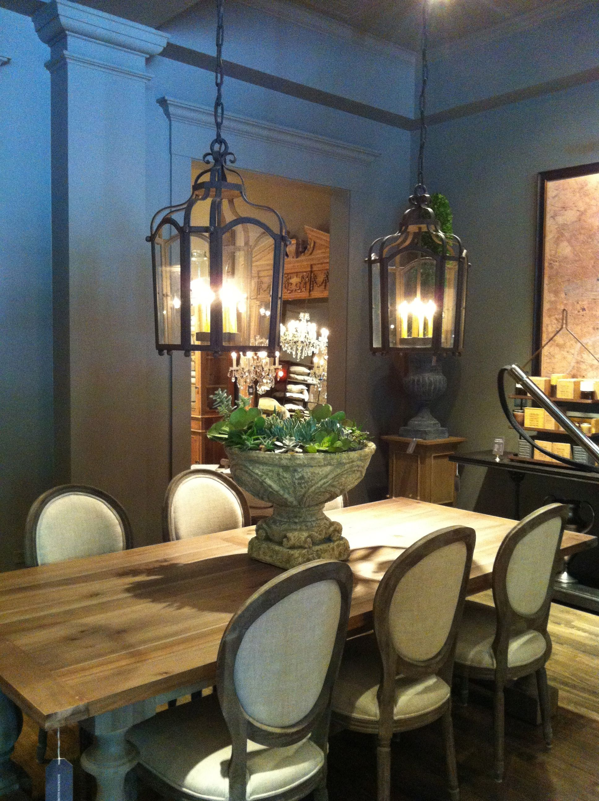 I Love The Lanterns Over The Table Restoration Hardware Dining Room Originally Fro Rustic Dining Room Restoration Hardware Dining Room Beautiful Dining Rooms