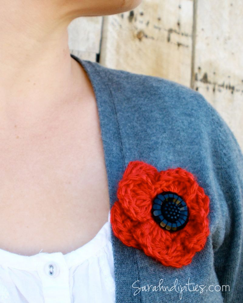 Things to make crochet poppy remembrance pin sarahndipities a free crochet poppy pattern for veterans day armistice day and remembrance day by sarahndipities bankloansurffo Image collections
