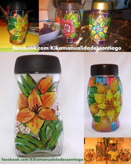 Tarros de cafe pintados a mano botellas de vidrio for Reciclar frascos de vidrio de cafe