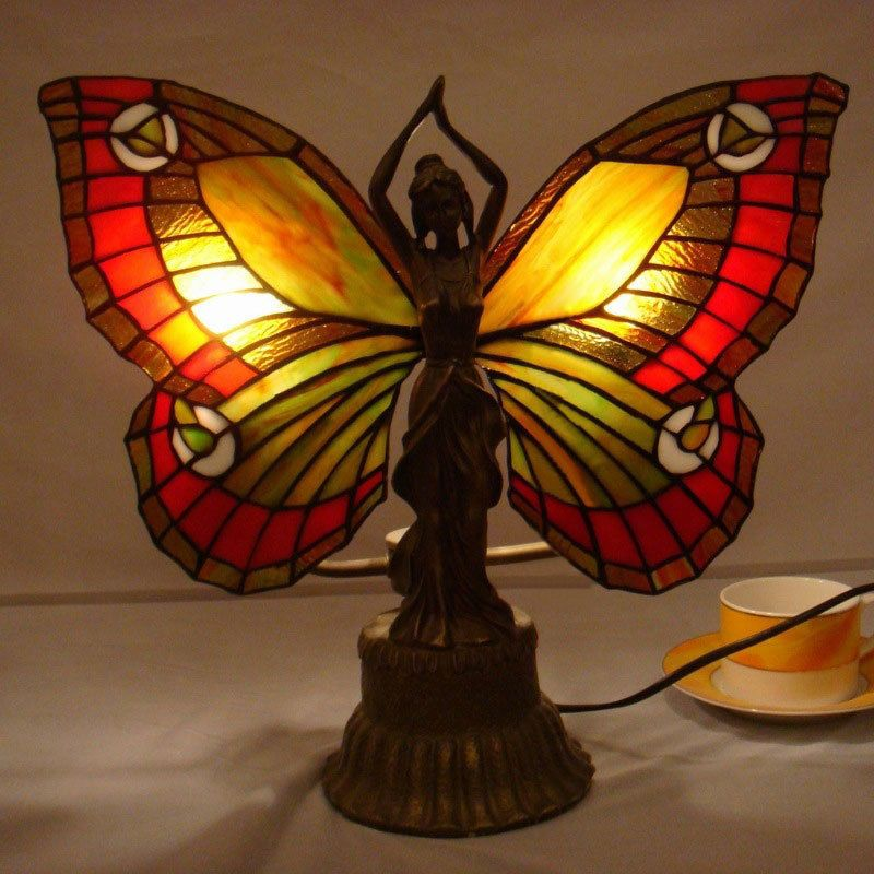 Tiffany Style Butterfly Table Lamp Stained Glass Deco Girl Desk Lamp