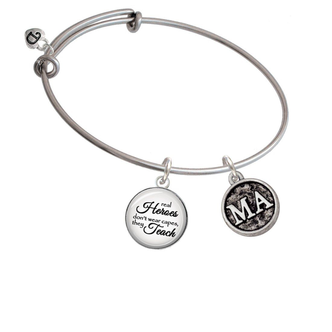 Silvertone Medical Assistant Caduceus Seal - MA Real Heroes Teach Bangle Bracelet. Silvertone Antiqued Medical Assistant Caduceus Seal - MA Glass Dome Real Heroes Don't Wear Capes They Teach Expandable Bangle Bracelet. Silvertone Medical Assistant Caduceus Seal - MA is approx. 0.78 x 0.66 x 0.15 (HxWxD) including loop. Antiqued Seal Design with MA on the front and a Caduceus on the back. Glass dome charm is approx: 0.9 x 0.7 x 0.2 inches (HxWxD) including loop. High quality printed paper...