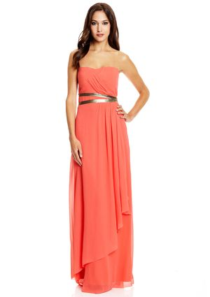 NICOLE MILLER Layered Strapless Gown with Leather Metallic Belt   my ...