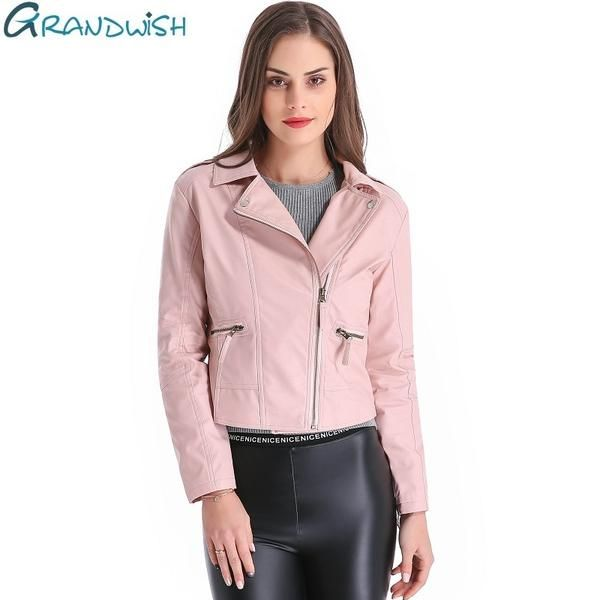 7090210995b Grandwish Women Leather Jacket Plus Size 4XL Short PU Leather Jacket Woman  Female Moto Turn-down Collar 2018 New Spring CB018