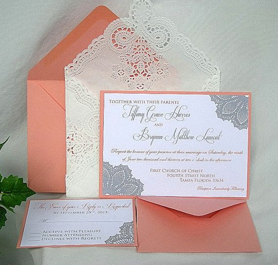Wedding Invitation Coral Peach And Silver Grey Lace Doily W Paper Envelope Custom Any Color
