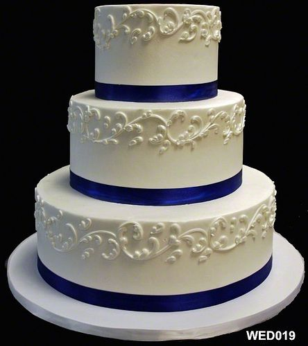 Beautiful Wedding Cakes By The Baking Grounds Bakery Café: WED019 3 Tier Round Wedding Cake With Scroll And Satin