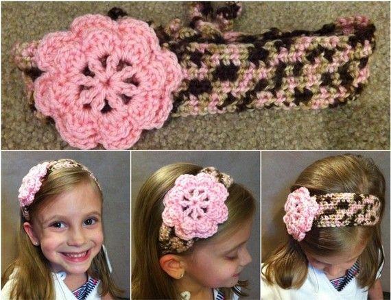 pink camo back tie headband