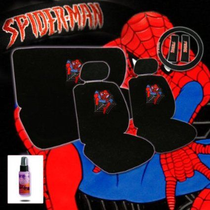Spiderman Car Accessories Seat Cover Shoulder Pads Steering Wheel Bench And Multi Purpose Cleaner