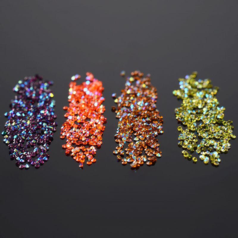 300 Teile/beutel 1,2mm Shinning Micro Strass Scharfe Untere Micro Bunten Diamanten Mini 3D Nail art Strass Dekorationen