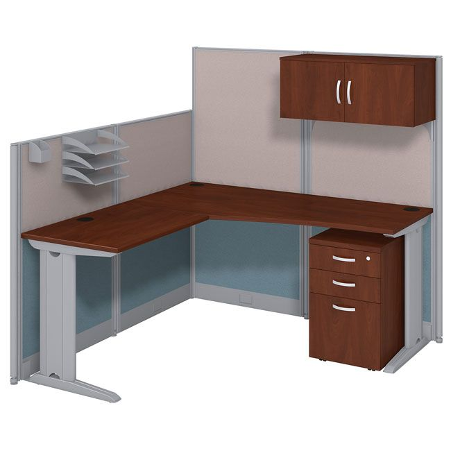 Office In An Hour Cubicle Workstation L Shaped With Storage 65w X