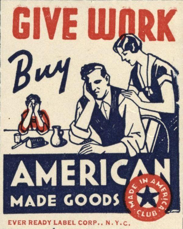 1930'S ERA US UNION LABEL BUY AMERICAN GOODS PROPAGANDA CANVAS POSTER PRINT