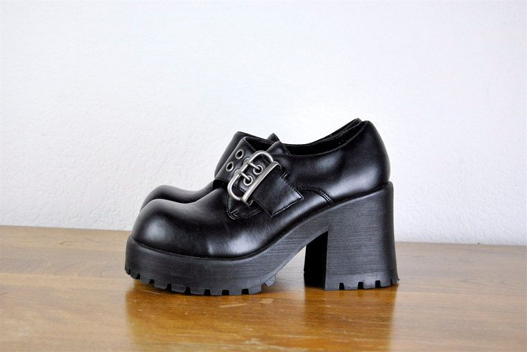 Vintage Shoes 1990 S Black Goth Chunky Heel Platform Shoe