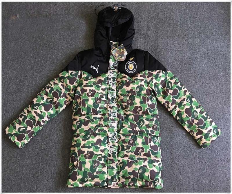 a7ac94ee Men's Bape Hoodie Bronzing Monkey Head Design Jacket A Bathing APE Cotton  Coat