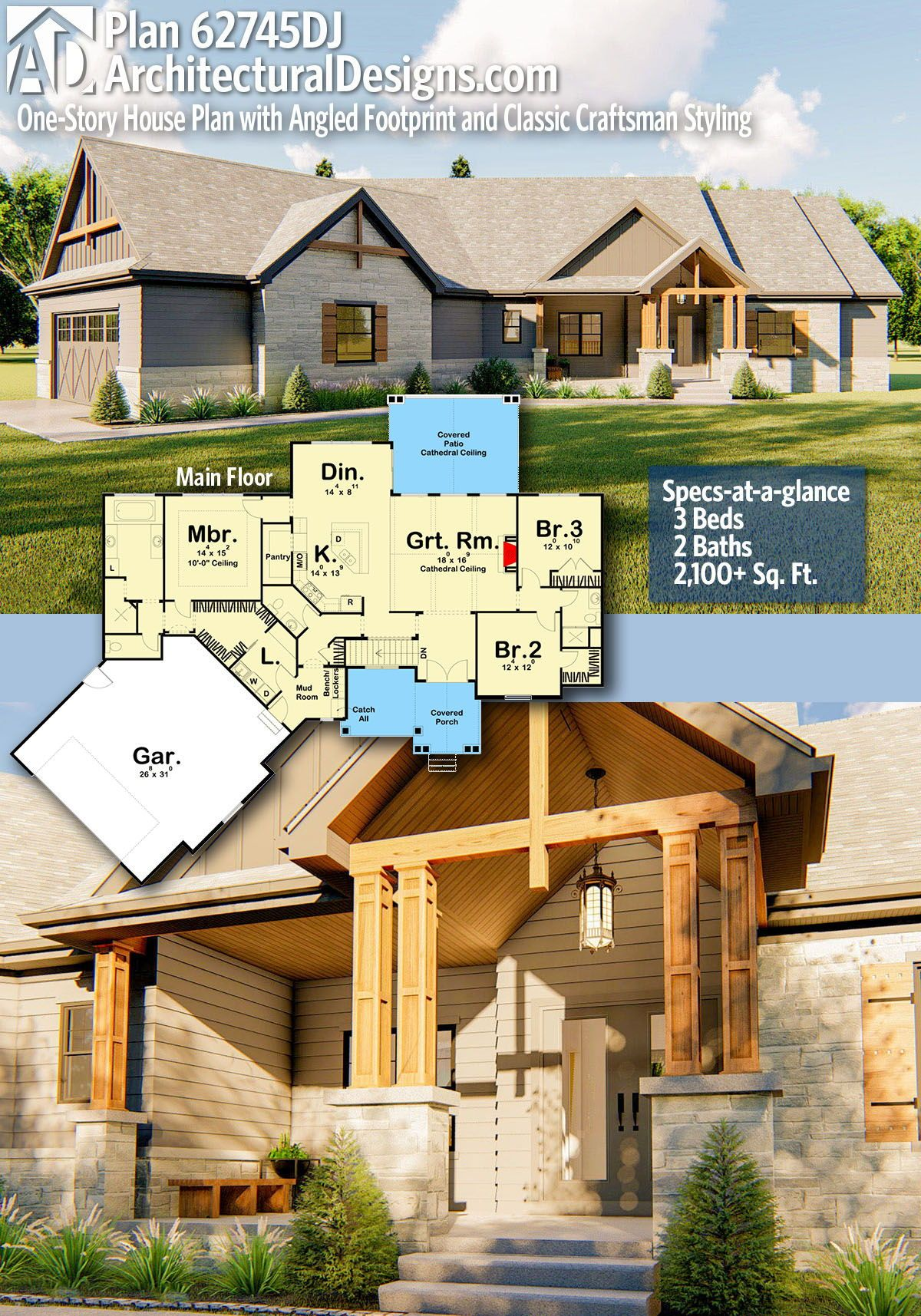Plan 62745dj One Story House Plan With Angled Footprint And Classic Craftsman Styling House Plans Craftsman House New House Plans