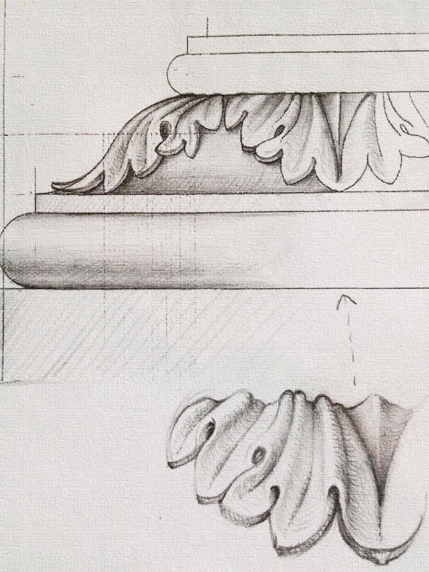 Drawing Of Acanthus Leaf Moulding For Base Of Pedestal Ornament Drawing Wood Carving Patterns Architecture Drawing