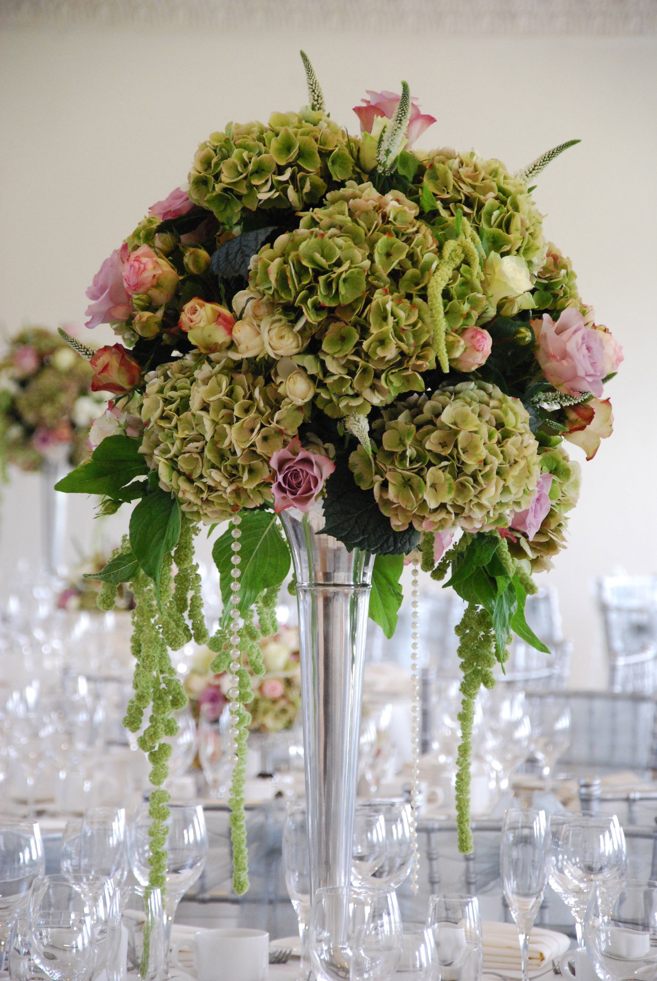Hydrangeas, Amaranthus And Vintage Style Roses, Glamorous Wedding Table Centre