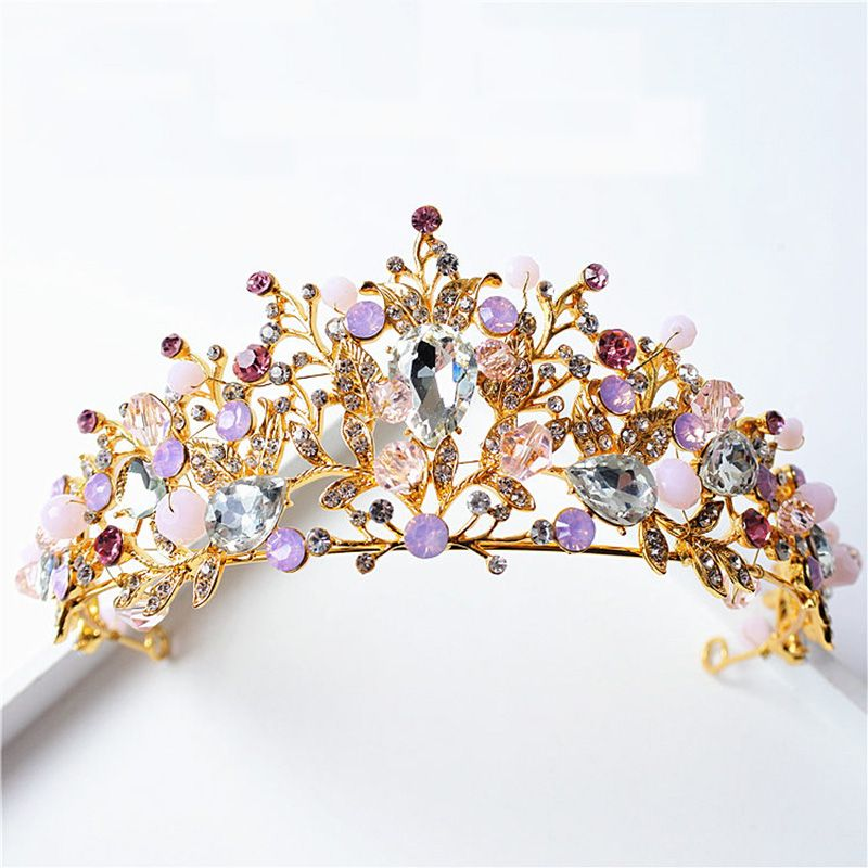 New Gold Wedding Crown Bijouterie Diademe Mariage Imitation Pearl Pink Crystal Tiaras Hair Jewelry Princess Queen Diadem HG219-in Hair Jewelry from Jewelry & Accessories on Aliexpress.com | Alibaba Group