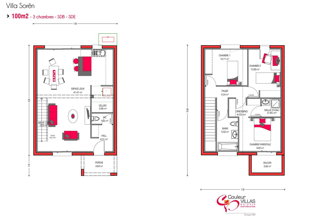 Plan de maison a etage 100m2 for Plan maison contemporaine 100m2
