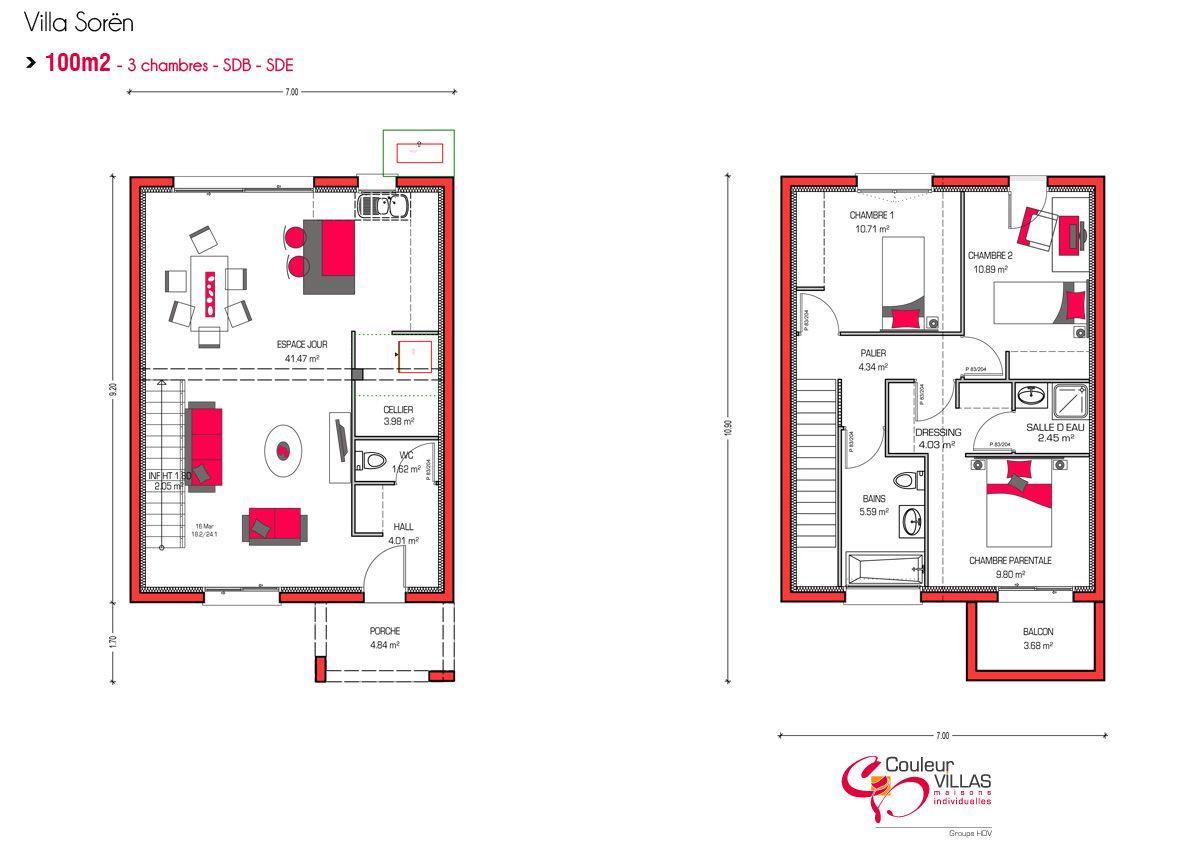 plan villa soren 100m2 sdb sde 2015 09 pratique quotidienne pinterest villas and house. Black Bedroom Furniture Sets. Home Design Ideas