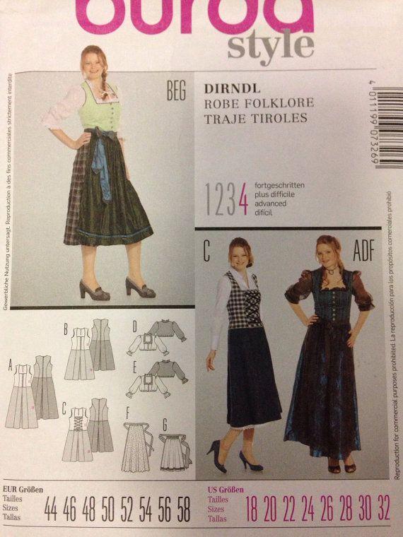 Burda ladies plus sizes sewing pattern 7326 Dirndl dresses and apron ...