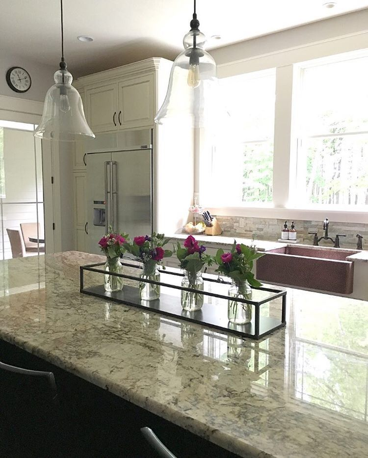 Neutral modern farmhouse kitchen with copper sink