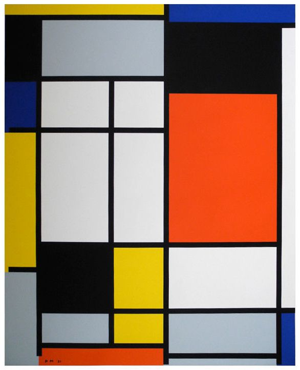 Piet Mondrian  1970. I picked this painting because it is simple and includes different colors. I also like how he chose the colors to match. I think he took a long time to paint this painting even though it looks simple. Pia Art 6/04