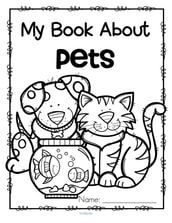 Set of 12 activity pages about pets for early learners