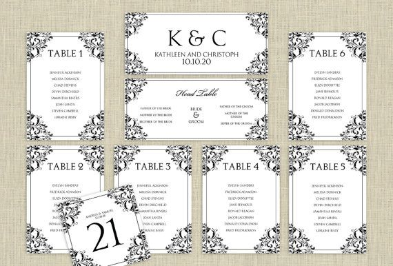 Wedding seating chart template download instantly editable text nadine black microsoft word format also rh pinterest
