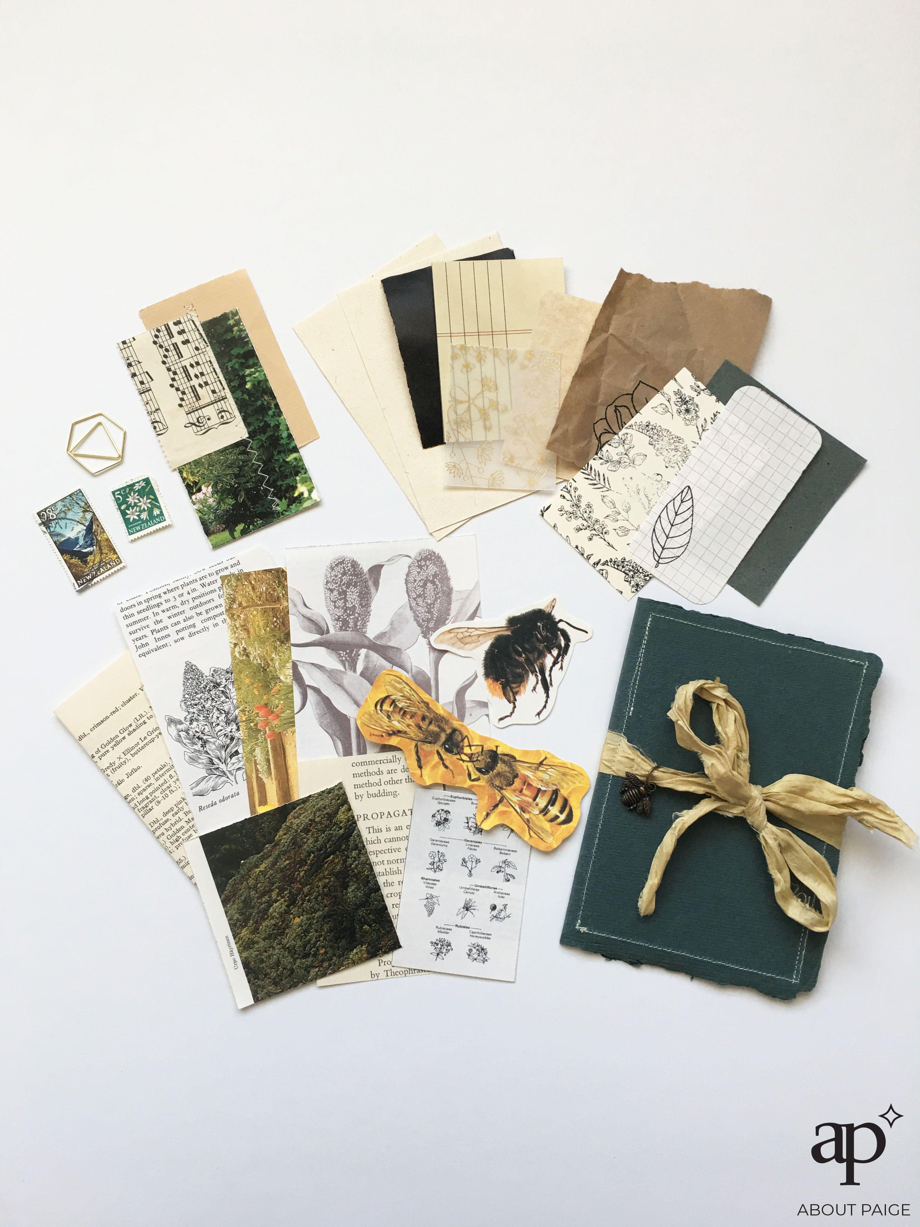 Aesthetic Neutral Journal Ephemera And Mini Folder In 2020 Vintage Ephemera Bee Theme Ephemera