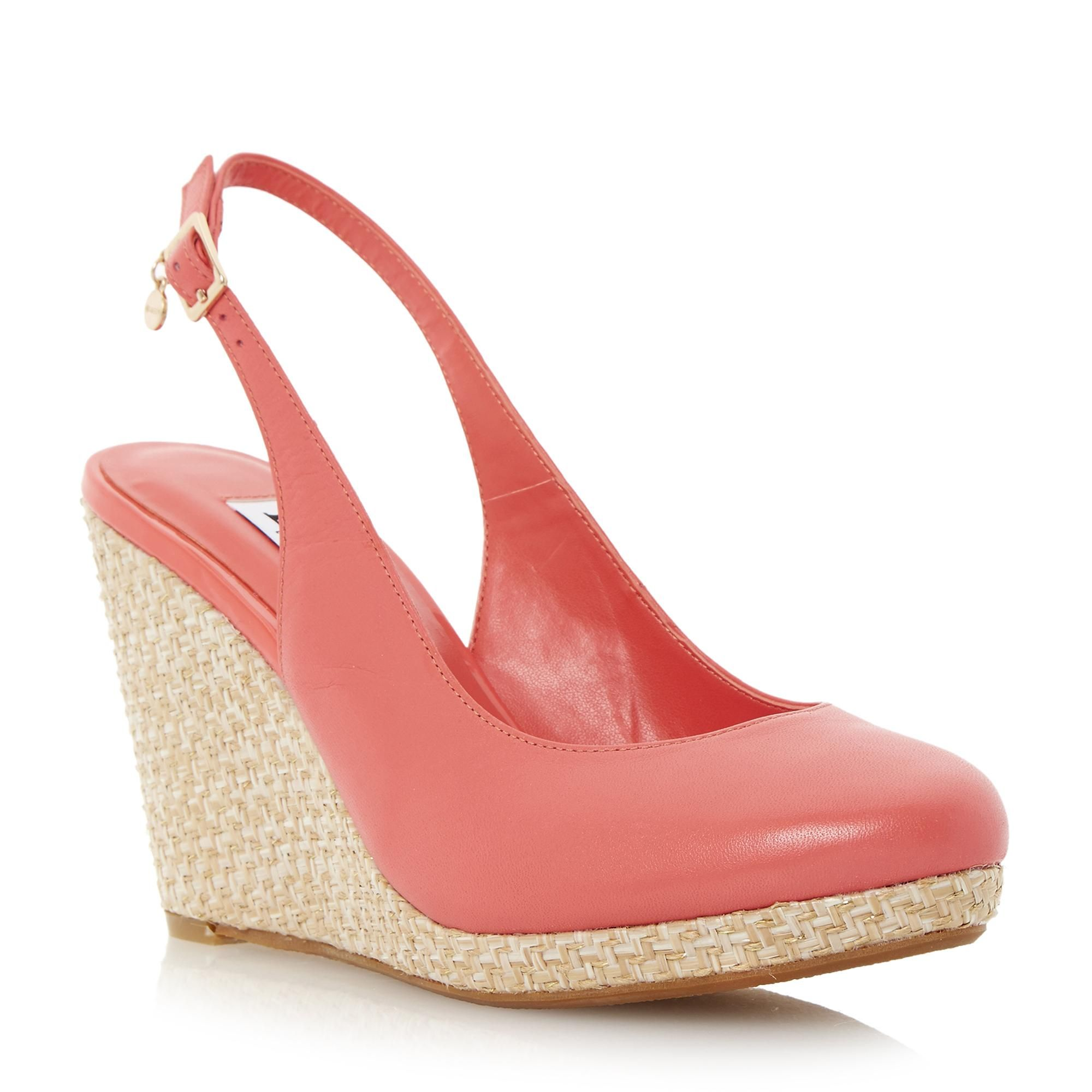 DUNE LADIES CECILLE - Espadrille Slingback Wedge Sandal - coral | Dune Shoes Online