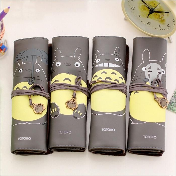 2016 Children Cartoon Miyazaki Totoro Pencil Bags Student creative PU waterproof Stationery bags 4styles Kids cute pencil bags children gift