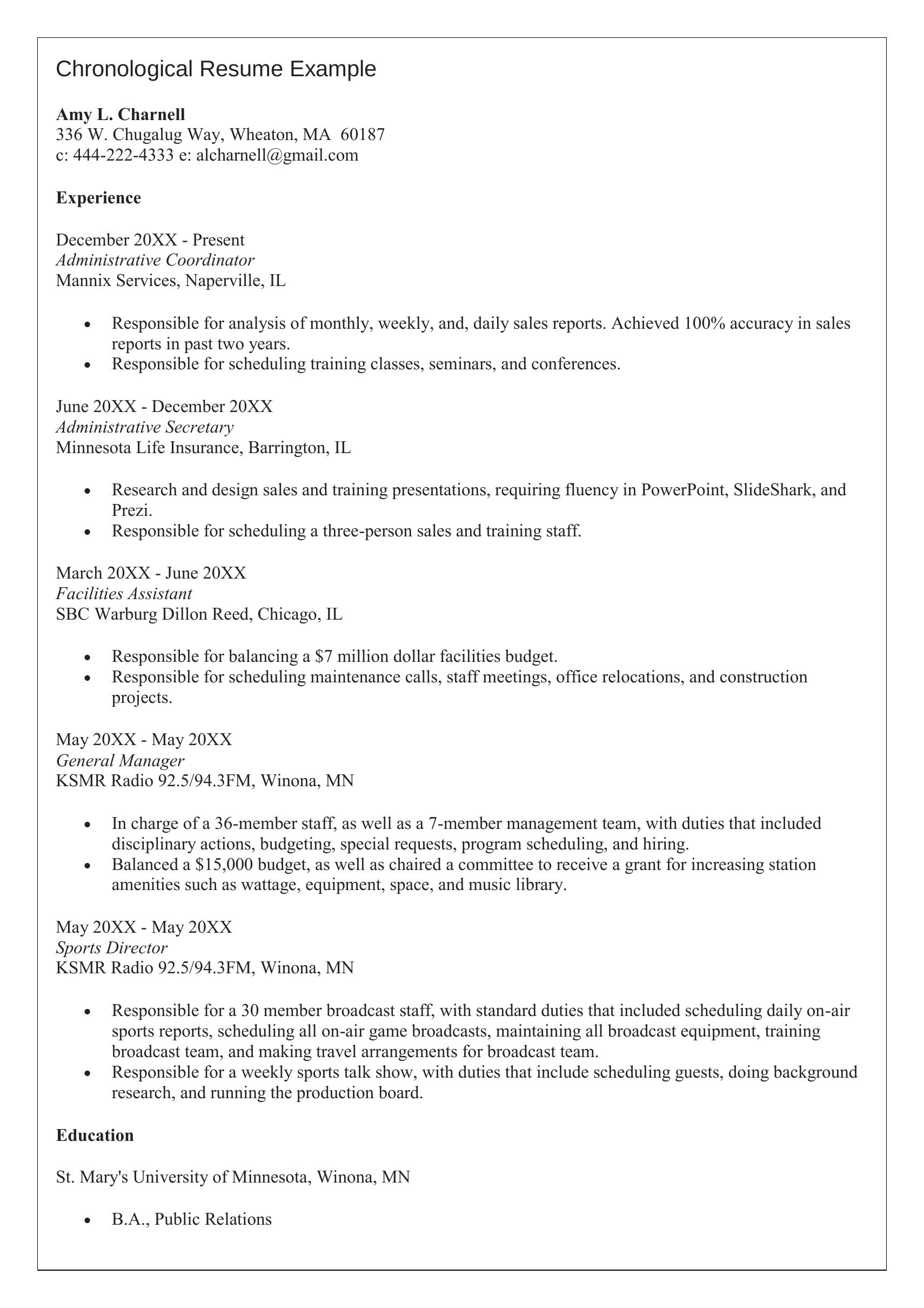 Chronological Resume Format Example Template Free Samples Examples