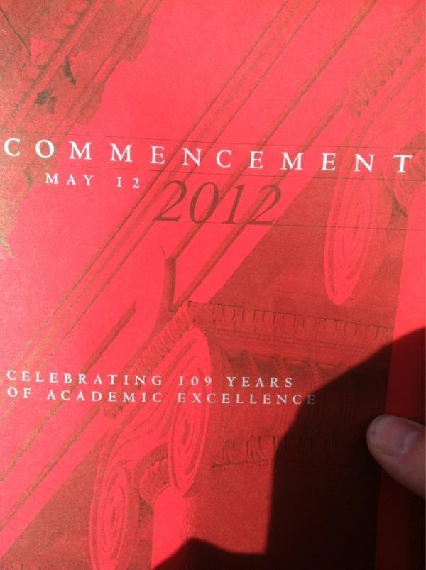 The program cover for the 2012 Commencement ceremony Graduation - graduation program