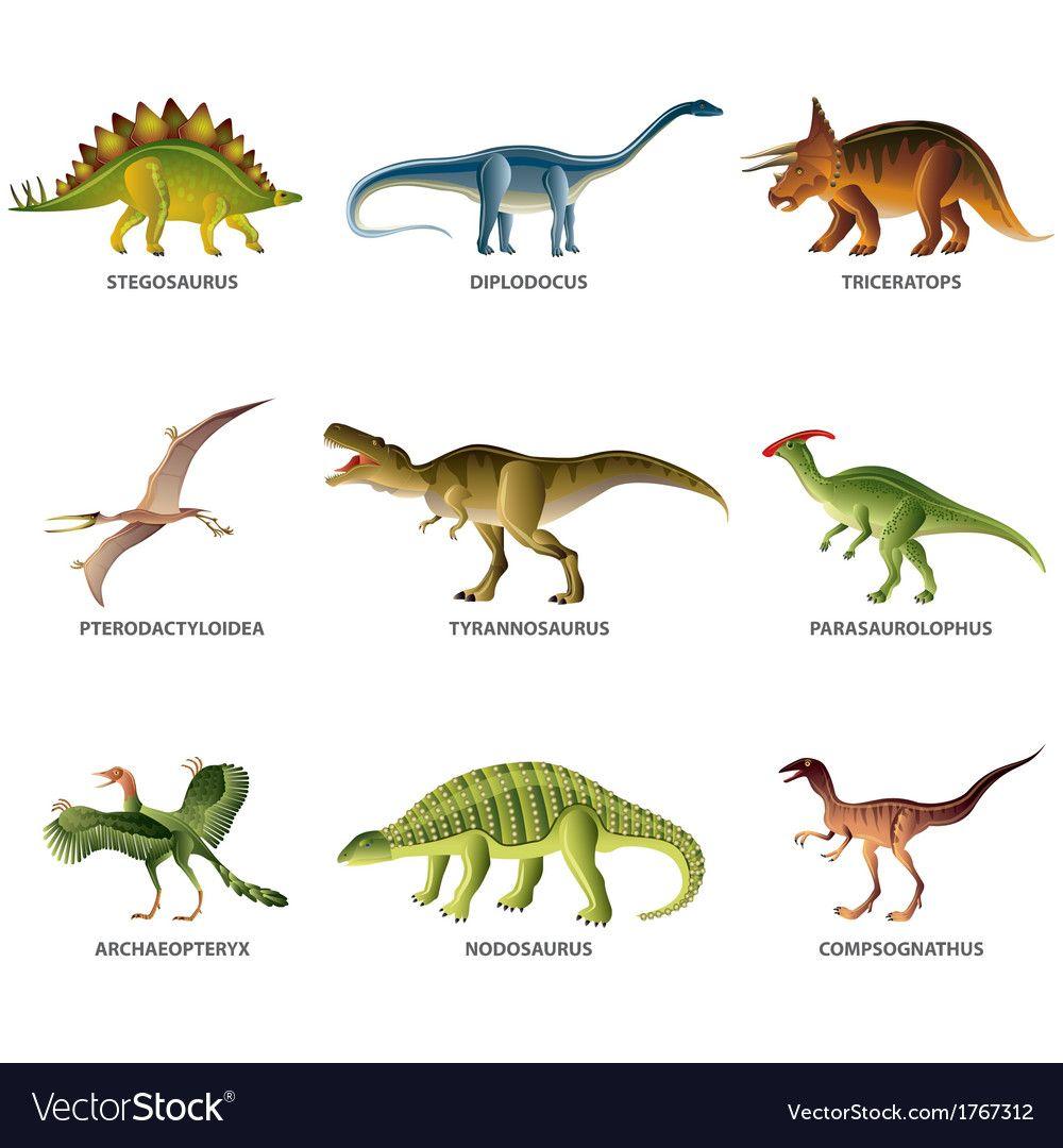 Dinosaurs Set Vector Image On Vectorstock Dinosaur Images Dinosaur Pictures Dinosaur Posters