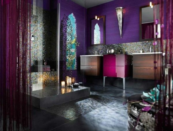 Lila-badezimmer-orientalischer-wohnstil-moderne-möbel-glas-farbig ... Schlafzimmer Orientalisch Modern