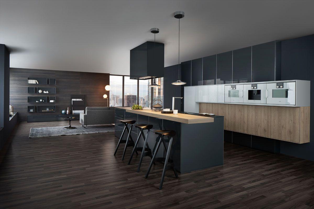 Wildhagen zwarte design keuken van leicht met bar aan kookeiland