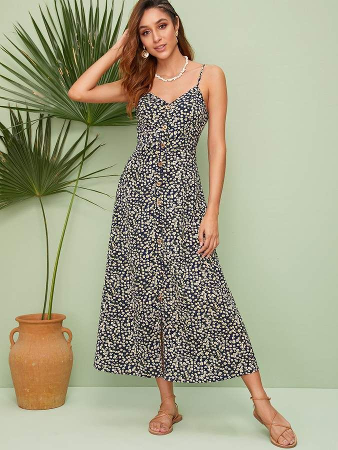 ad277f5806 Shein Single Breasted Ditsy Floral Cami Dress in 2019 | Products ...