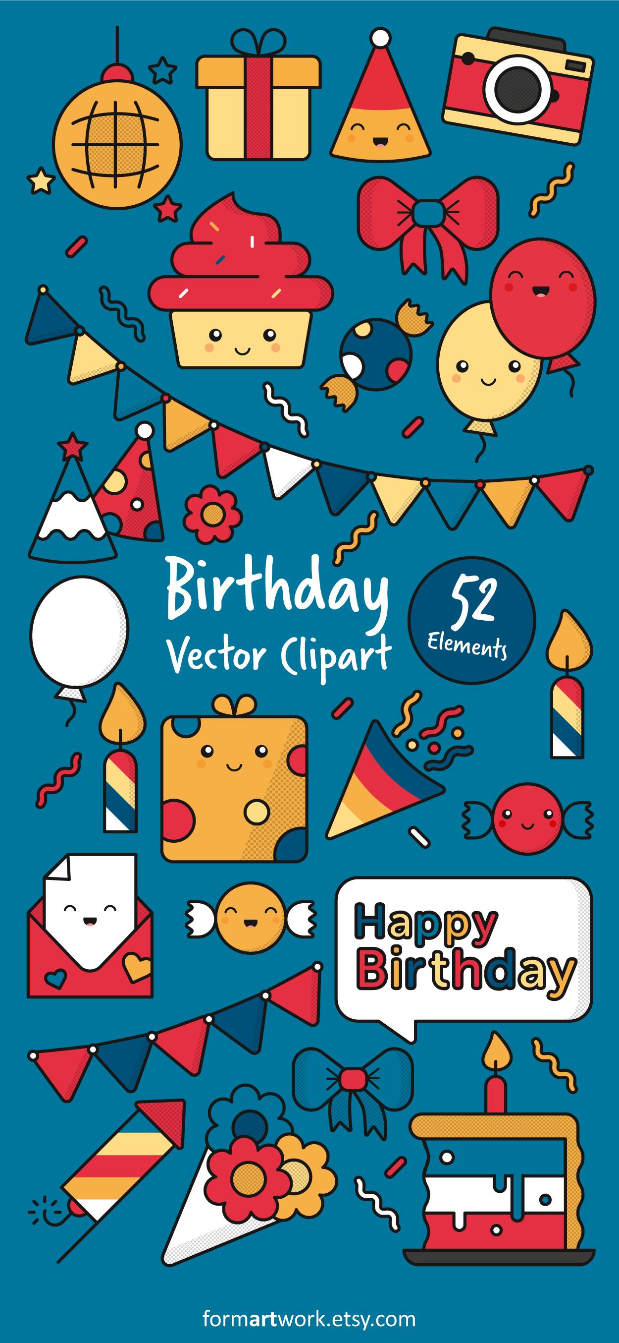 Cute Birthdayparty Vector Clipart For Your Creative DIY Projects Perfect Graphics Invitations