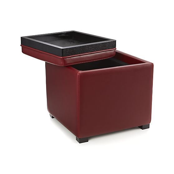 Stow Red 17 Leather Storage Ottoman Leather Storage Ottoman Storage Ottoman Cube Ottoman
