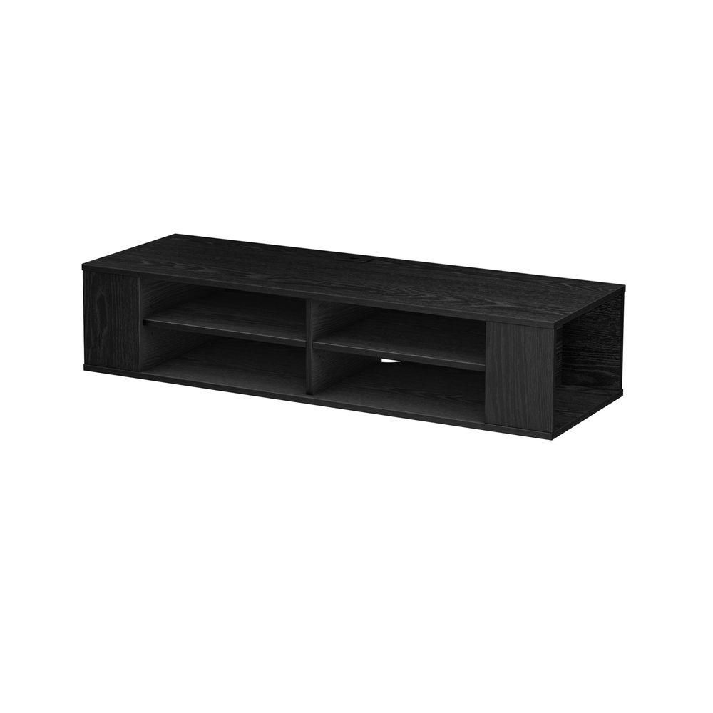 50 Disc Capacity City Life Wall Mounted Media Console In Black Oak