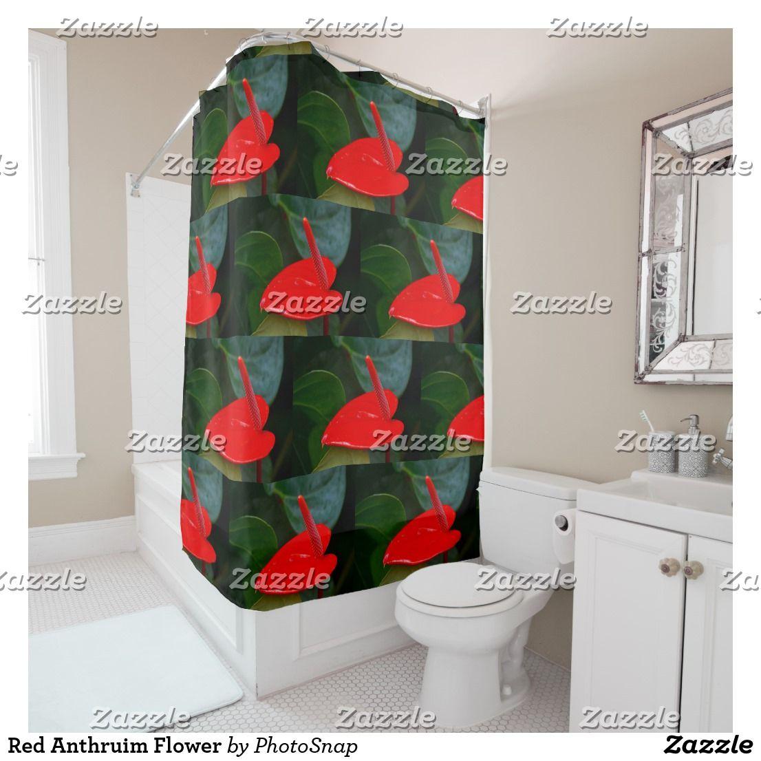 Red Anthruim Flower Shower Curtain