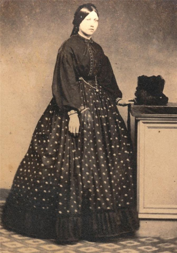 Woman, second stage of mourning, 1860s. Interesting
