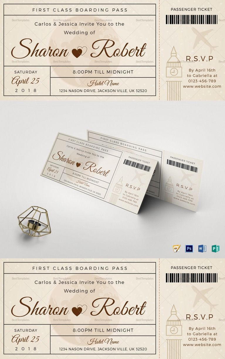 Wedding boarding pass invitation ticket template wedding wedding boarding pass invitation ticket template 12 formats included ms word pages maxwellsz