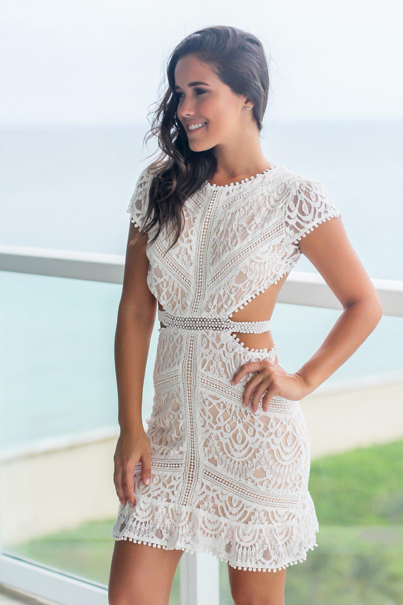 Off White Lace Short Dress With Open Back Short Lace Dress White Lace Dress Short Short Dresses