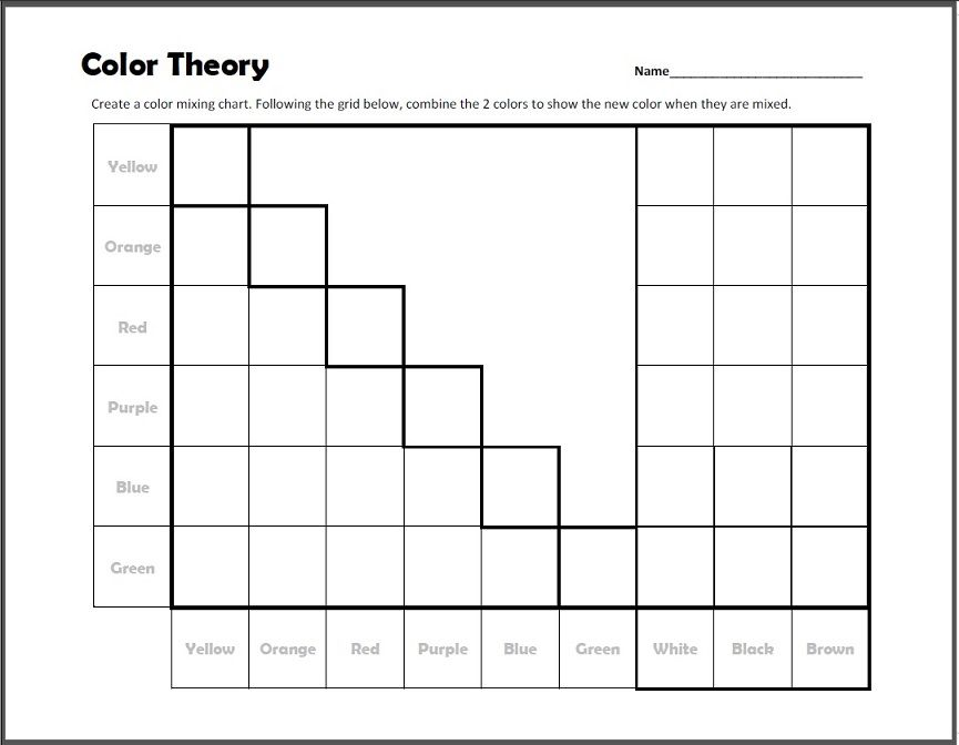 Color Theory Mixing Chart Worksheet Quick print